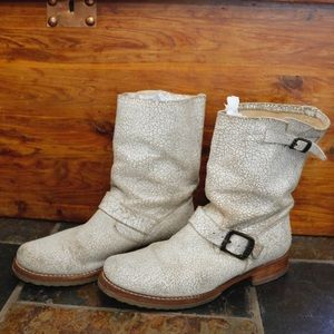Frye Veronica Women's White Crackled Leather Boots